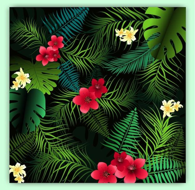 열 대 꽃 원활한 벡터 패턴 배경입니다.