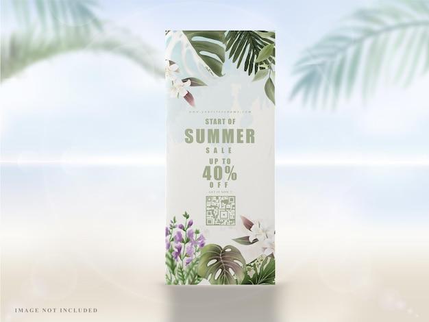 Тропический цветочный летний баннер