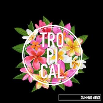 Tropical floral summer design. pink plumeria flowers