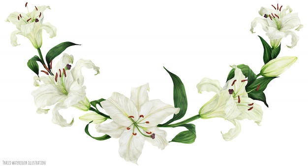 Tropical floral watercolor arc with oriental white lilies