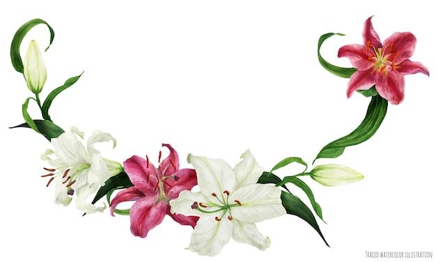 オリエンタルユリと熱帯の花の水彩画の花輪