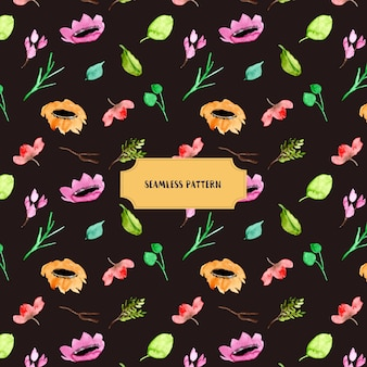 열 대 꽃 수채화 원활한 패턴
