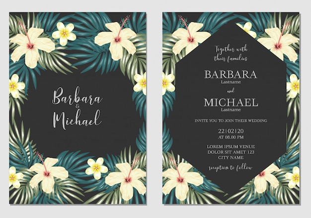 Tropical floral wedding invitation template