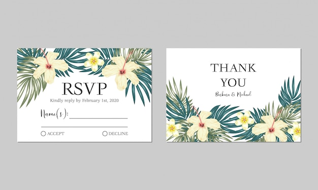 Tropical floral wedding rsvp card template