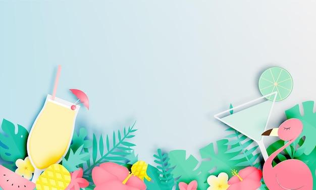 플라밍고와 종이 아트 스타일과 파스텔 색상의 칵테일 열대 꽃.