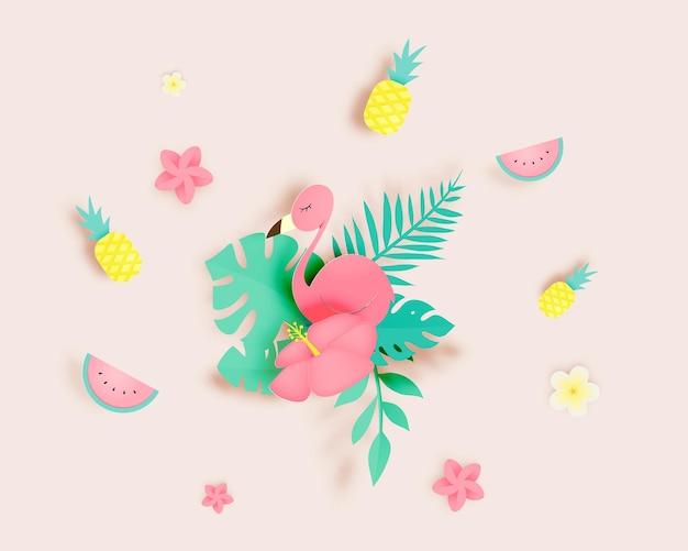 종이 아트 스타일과 파스텔 색상의 플라밍고와 열대 꽃