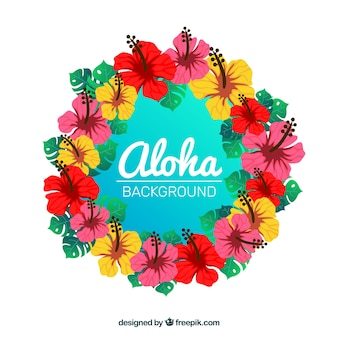 Tropical floral wreath background