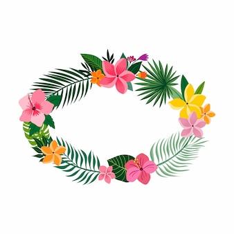 Тропический венок с разными цветами и растениями