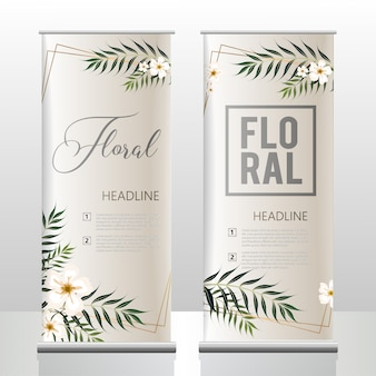 Tropical flowel and leaves banner template