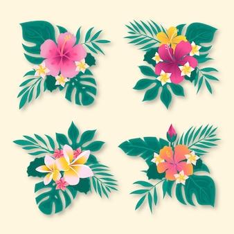 Пакет тропических цветов и листьев