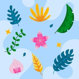 熱帯の花と葉のセット