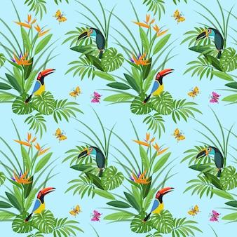 열 대 꽃과 큰 부리 새 새 완벽 한 패턴으로 잎