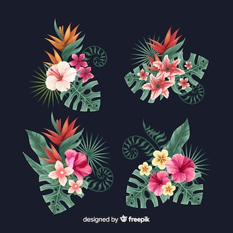 Tropical flower element set