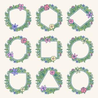 열 대 꽃 프레임 컬렉션, 손으로 그린 선 디지털 색상