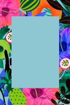 Tropical flower frame illustration in colorful tone