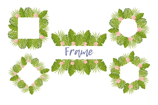 Tropical flower frame for your card design with clear space for text