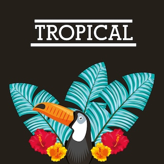 Tropical flower leaves animal card