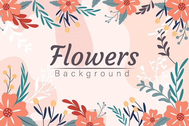 Tropical flower and leaves frame background design