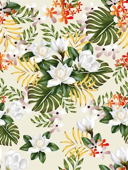Tropical flower and leaves seamless pattern