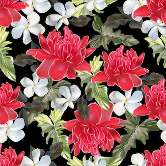 Tropical flower seamless pattern vector illustration