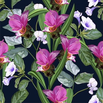 Tropical flower seamless pattern with siam tulip and snap bean flower