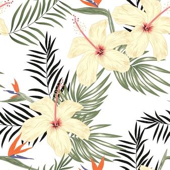 열 대 꽃 원활한 패턴