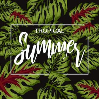 Tropical flower for summer poster illustration