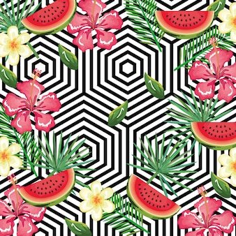 Tropical flower and watermelon with abstract background