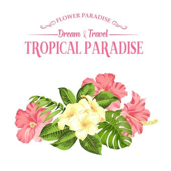 Fiore tropicale su sfondo bianco. illustrazione vettoriale.