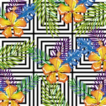 Tropical flower with abstract background