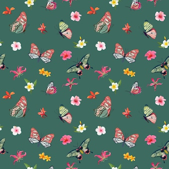 Тропические цветы и бабочки бесшовный фон