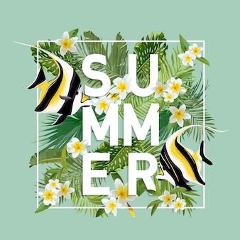 Тропические цветы и фон экзотических рыб. летний дизайн. футболка fashion graphic.