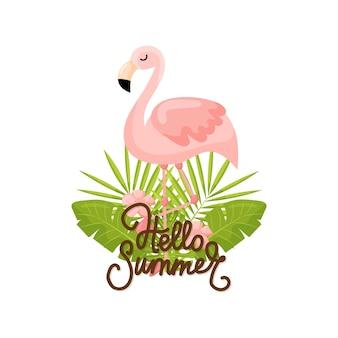 열 대 꽃과 플라밍고 여름 배너 그래픽 배경 이국적인 꽃 초대장
