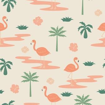 Тропические цветы и фламинго летом бесшовные модели