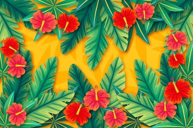 Тропические цветы и листья фон для увеличения