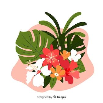 열 대 꽃과 나뭇잎 컬렉션