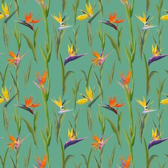 Тропические цветы и листья старинный фон