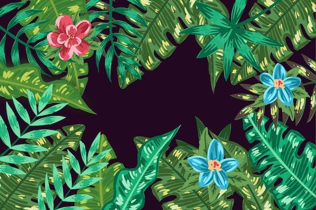 Тропические цветы и листья обои для увеличения