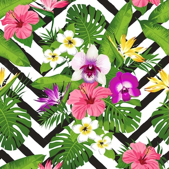 Tropical flowers and palm leaves zig zag background