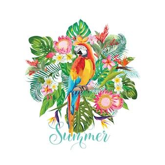 Тропические цветы и фон птицы попугай. летний дизайн .. футболка fashion graphic. экзотика.
