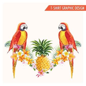 티셔츠, 패션, 프린트를위한 열대 꽃과 앵무새 새 그래픽 디자인