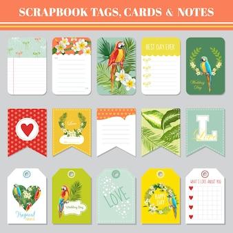 Тема с тропическими цветами и попугаями для тегов записки, открыток и заметок на день рождения, детского душа, вечеринки, дизайна в