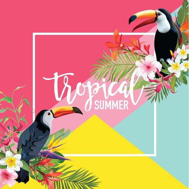 Тропические цветы и летний баннер птиц тукан, графический фон, экзотические цветочные приглашения, флаер или открытка. современная первая страница
