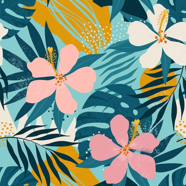 Tropical flowers and artistic palm leaves seamless pattern.