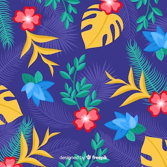 Tropical flowers background flat style