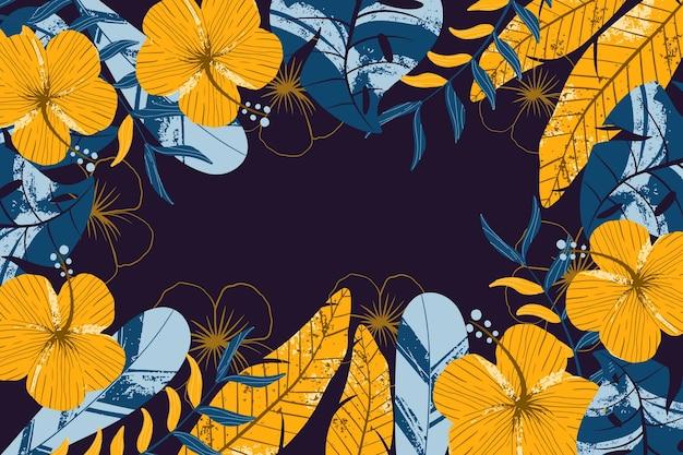 확대에 대 한 열 대 꽃 배경