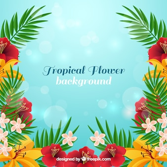 Tropical flowers background in realistic style