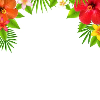 Tropical flowers border, with gradient mesh,