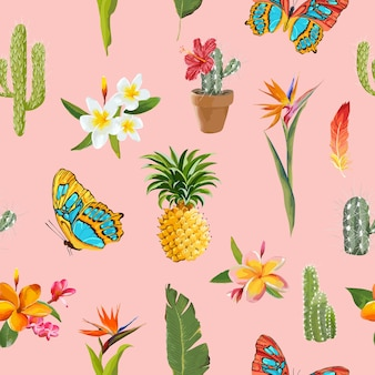 Tropical flowers and butterflies background. floral seamless pattern with cactus and pineapple