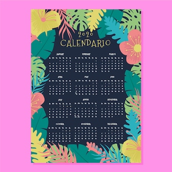 Tropical flowers calendar 2020 template